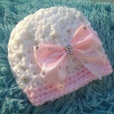 Romany bling crochet/ knit  baby girl hat,gift,photo prop.