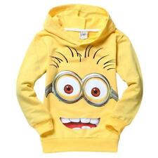 KIDS MINION YELLOW HOODIE BOYS GIRLS FULL FACE CLOTHING JUMPER SIZE 2-8 UK