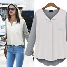 New Fashion Women's Loose Chiffon Tops Long Sleeve Knit Shirt Casual Blouse Hot