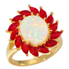White Opal & Garnet Women Jewelry Gems Silver & Yellow Gold Filled Ring OJ6159