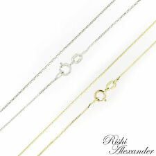 10K Gold BOX Chain Necklace White or Yellow .6mm Italian Made Stamped 10KT