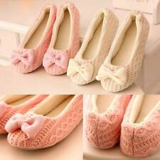Women Soft Sole Winter Bow Crochet Knitted Indoor Home Dance Yoga Shoes Slippers