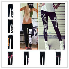 Damen WORK OUT Leggings Leggins Sweat Pants  Sport Fitness Tights Hose Neu Mode