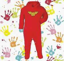 BABY GIRLS RED WONDER WOMAN NOVELTY PERSONALIZED HOODED SLEEP SUIT ROMPER