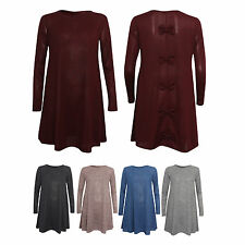 Ladies Womens Long Sleeve Baggy Hanky Swing Dress Top BOW DETAIL ON BACK SM ML