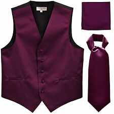 New Men's eggplant formal vest Tuxedo Waistcoat ascot hankie set wedding prom