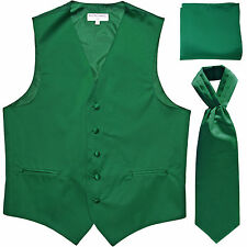 New Men's emerald Green vest Tuxedo Waistcoat ascot hankie set wedding prom