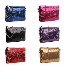LADIES VINTAGE SEQUIN ENVELOPE CLUTCH CHAIN EVENING SHOULDER BAG
