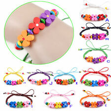 Colorful Flower Wood Bead Charm Bracelet Cuff Wristband kids boys girls party