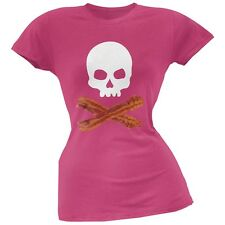 Bacon Skull And Crossbones Pink Soft Juniors T-Shirt