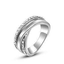 Size6,7,8  18K White Gold Filled 2 Rows Jewelry AUT Crystals Women's Rings Gift