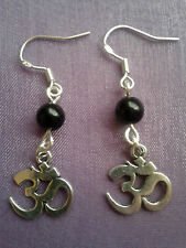 OM AUM OHM SIGN SYMBOL Sterling Silver Earrings + CHOICE OF 12 CHAKRA CRYSTALS!