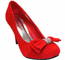 New women's shoes elegant suede like pumps rhinestones red wedding party prom