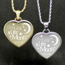 """Free Custom Engraving """"Moon and Back"""" Engraved Heart we will engrave on back"""