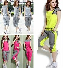 Women's New Sport Tracksuit Lattice T-shirt+Pants Set Running Yoga Jogging Sweat