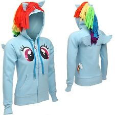 My Little Pony Rainbow Dash Face With Wings Licensed Junior Zip Up Hoodie S-XXL