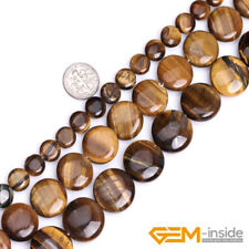 """Natural Tiger's Eye Gemstone Coin Beads For Jewelry Making 15""""8mm 10mm 12mm 18mm"""