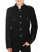 Tripp NYC Mens Band Leader Military Jacket Black Goth Steampunk Vintage Pea Coat