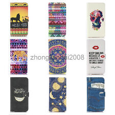 Luxury Painted Leather Wallet Stents Cover Case Skin For Samsung Galaxy S5 Mini