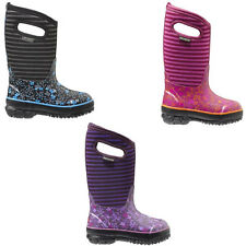 """BOGS 71560 Kids Girl's 10"""" Flowers and Stripes Insulated Waterproof Winter Boots"""
