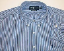 NWT POLO RALPH LAUREN CLASSIC FIT WOVEN STRIPED LS SHIRT BLUE WHITE $89-95  PONY