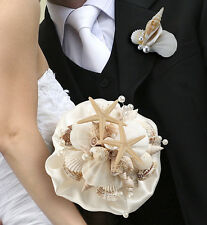 SEASHELL WEDDING BOUQUET & MATCHING BOUTONNIERE-sold as a set or seperate!