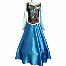Movie Frozen Princess Anna Adult Childern Dress Cosplay Costume Custom Made New