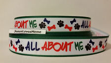 Grosgrain Ribbon, All About Me Dog Bones Paw Prints Animal Shelter Rescue 7/8""