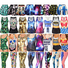 48Types Womens 3D Digital Dress Set Gothic Leggings Skater Bodycon Skirt Vest