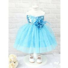2015 Blue Sequins Baby Girls Princess Flower Tulle Gown Dresses Costume 1-7T UK