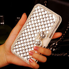 Luxury Bling Crystal Rhinestone White Wallet PU Leather Case Cover For Huawei
