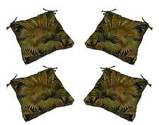 Set of 4 Outdoor Black Green Tropical Tufted Patio Chair Cushions Choose Size