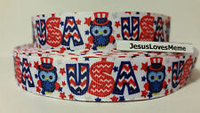 "Grosgrain Ribbon, Patriotic USA Owls, Red White & Blue, Stars Chevron, 7/8"" Wide"