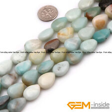"Natural Mixed Amazonite Gemstone Teardrop Beads For Jewelry Making Strand 15"" YB"