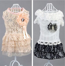 Good small girl dog pet clothes apparel lace rhinestone princess summer dress