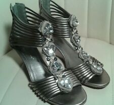 BCBG Women's Ven Pewter Jeweled Strappy Wedge Sandals