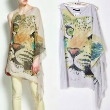 Loose V Neck Tiger Head Women Shirt Blouse Tops Mini Dress Asymmetric Stylish