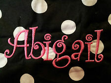 Hand Made Baby Bib Personalized Black Quarter Size white polka dots Saloon curly