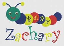 Personalised Baby Boy/Girl Blanket Embroidered BABY CATERPILLAR DESIGN 10colours