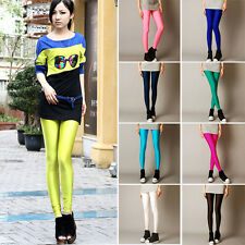 Girls Neon Shiny Fluorescent Pants Glow Stretch Candy Color Tight  S,M,L,XL SK