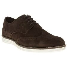 New Mens SOLE Brown Macklin Suede Shoes Brogue Lace Up