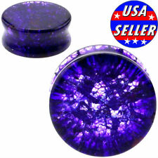 PAIR-PURPLE SHATTERED QUARTZ-Organic Flesh Tunnels- Stone Ear Plugs-Ear Gauges-
