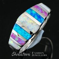 BLUE WHITE PINK FIRE OPAL MIXED COLOR INLAY SILVER BAND RING US SIZE 6 7 8 9