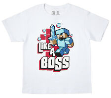 Minecraft Like A Boss Officially Licensed Youth T-Shirt - White