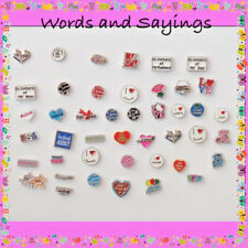 Floating Charms-Words, Sayings, Family, Love-Glass Memory Lockets-Free Shipping