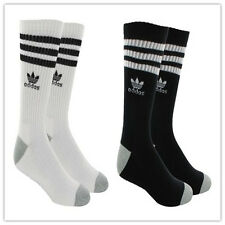 Men adidas Originals Trefoil Full Length Socks Crew Black OR White Roller Pair