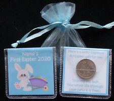 PERSONALISED LUCKY SIXPENCE BABYS FIRST EASTER KEEPSAKE GIFT BOY GIRL 12 DESIGNS