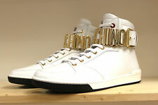 moschino x white hi sneakers with gold metal logo super cool