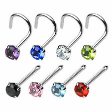 Nose Piercing Stud with Prong Set Round CZ - 0.8mm or 1mm 316L Surgical Steel