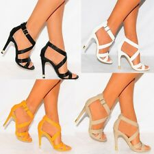 WOMENS STRAPPY SANDALS STILETTO HEEL HIGH HEELS ANKLE STRAP SHOES PEEP TOES